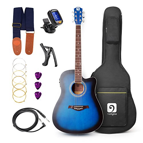 Vangoa – 41inch Full-Size VG-41ECBL Blue Acoustic Cutaway Guitar with Guitar Gig Bag, Strap, Tuner, String, Picks, Capo
