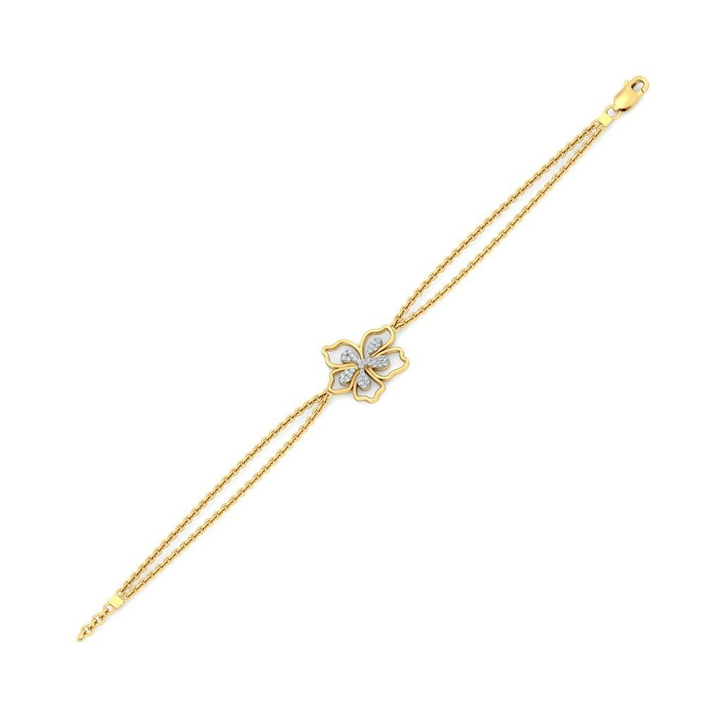 9.5 inches IJ| SI identification-bracelets Size 18K Yellow Gold 0.175 cttw Round-Cut-Diamond