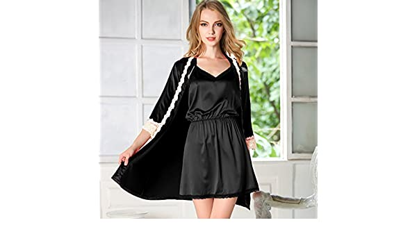 Amazon.com: MH-RITA Female Summer Ice Silk Pajamas Nightdress in Spring and Autumn Ladies Temperament Two Piece Black Bud Silk Dress: Clothing