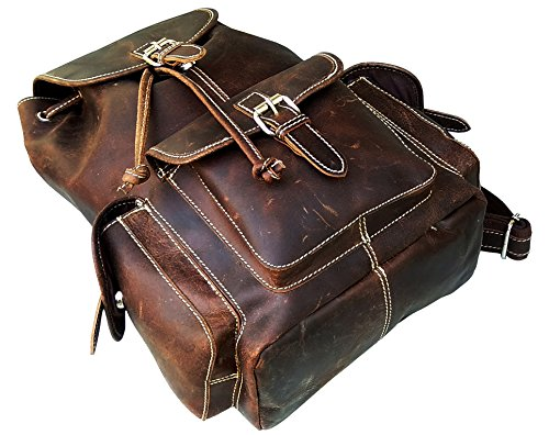 Expandable Leather Computer Backpack - 8