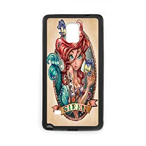 the Little Mermaid Ariel Tattoo Samsung Galaxy Note 4 Cases, Design Protective Case for Samsung Galaxy Note 4 Bloomingbluerose {Black}