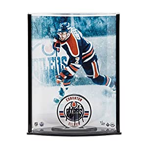 PAUL COFFEY Autographed Edmonton Oilers Puck with Oilers Picture Curve Display UDA LE 27