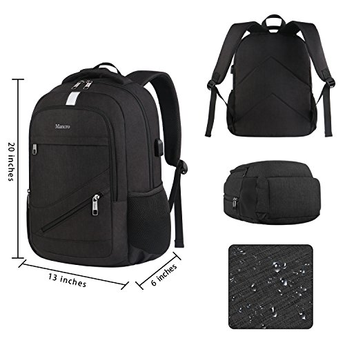 High School Backpack, Laptop Backpack RFID College Bag for Women Men, Anti theft Travel Business Laptop Bag w/USB Charging Port, Mancro Slim Water Resistant Polyester Daypack Fit 15.6'' Notebook, Black by Mancro (Image #5)