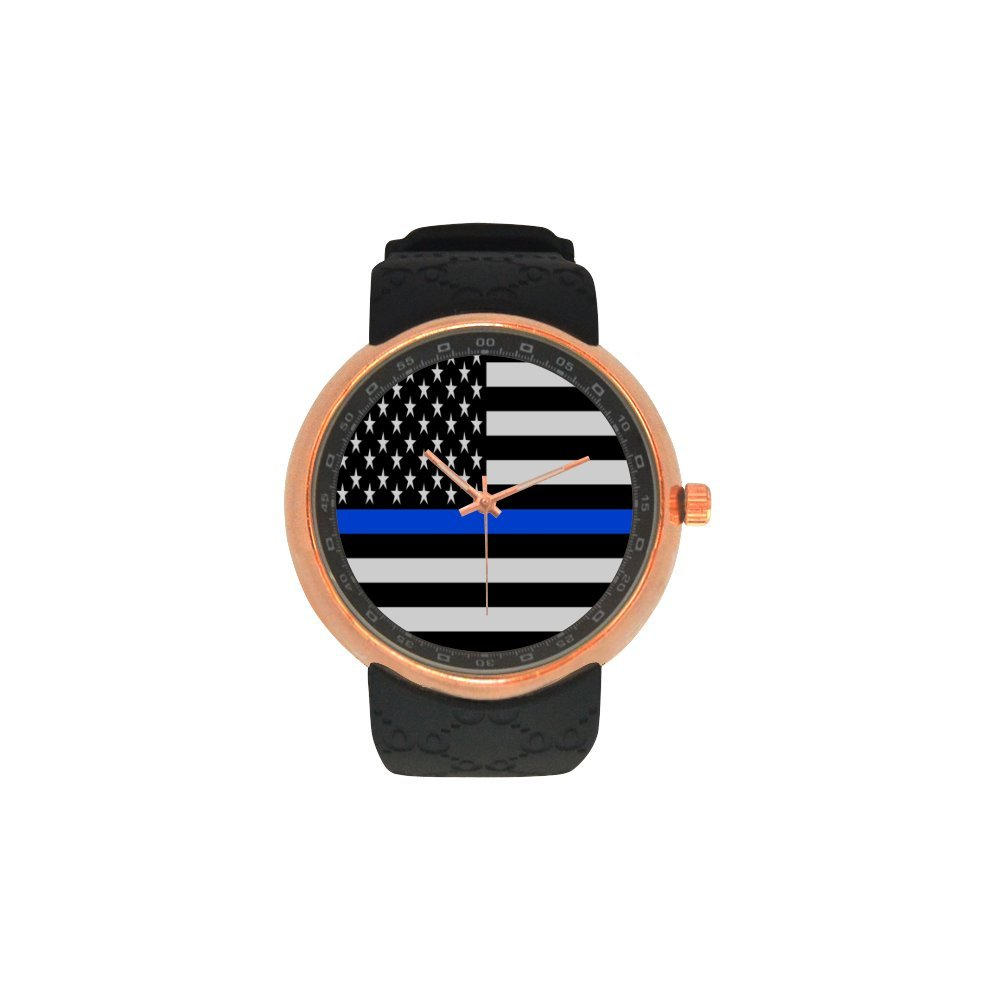 Novelty Gift Black and White Blue Line US American Flag Men's Rose Gold Plated Resin Strap Watch