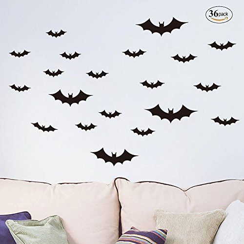 Megrocle 3D Bat Wall Decor DIY Scary Black Bats Wall Decals Removable Window Stickers Halloween PVC Party Supplies Decorations,36 (Diy Halloween Dorm Decorations)