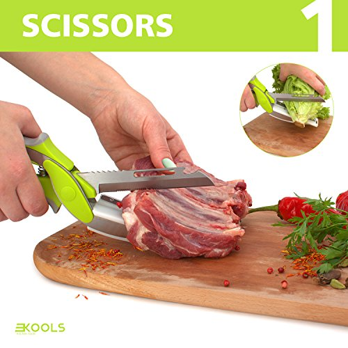 kools Clever 8-in-1 Food Chopper Set - with Chopping Board and Detachable Knife, Ideal as Vegetable and Meat Chopper or Slicer, Bottle Opener, Peeler, including Sharpener and Finger Guard by kools (Image #1)