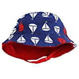 Little Me Reversible Navy Blue Sailboat Solid Red Baby Boys Bucket Sun Hat 3-9