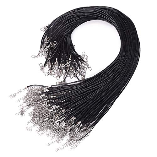TUPARKA 120PCS Black Necklace Cord with Clasp, Waxed Necklace Cord for Necklace Bracelet Jewelry Making (20 Inches)