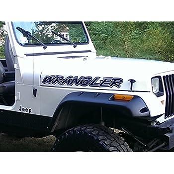 East Coast Vinyl Werkz - Black - Wrangler - hood decal set for Jeep - 2pc