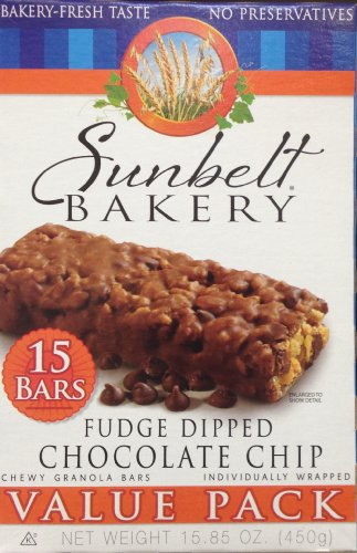 (Sunbelt Bakery Fudge Dipped Chocolate Chip Chewy Granola Bars, 1.1 oz Bars, 15 Count )
