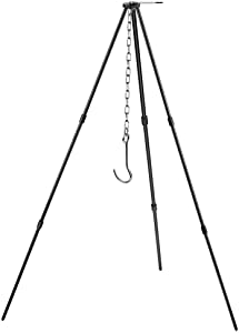 Zerich Camping Tripod Campfire Cooking Dutch Oven Tripod Portable Outdoor Picnic Foldable Cooking Tripod Barbecue Accessory Cooking Lantern Tripod Hanger with Storage Bag for Camping Activities#7824