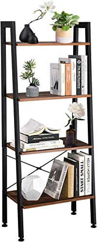 Knocbel Industrial Ladder Shelves Storage Display Rack, Bookcase Plant Flower Pots Stand, Metal Frame, 22 Lbs Capacity of Each Tier Rustic Brown and Black 4-Tier