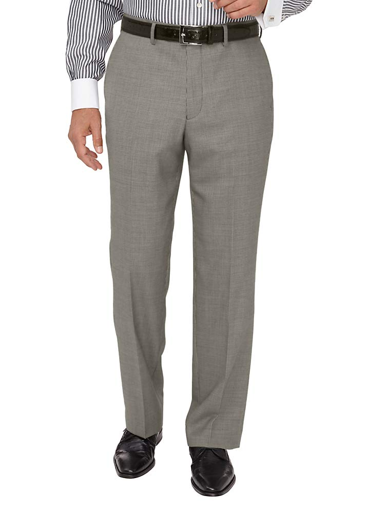 Paul Fredrick Men's Wool Houndstooth Flat Front Suit Pant Black/Grey 48