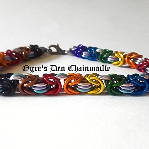 Bisexual Pride in Race Inclusive Rainbow Byzantine Chainmaille Bracelet - Thin - Byzantine Chainmaille Link