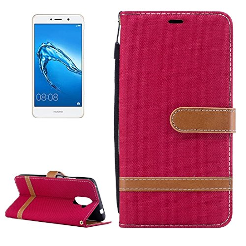 Mobile decoration & Security Funda de cuero con textura de mezclilla Huawei Y7 con soporte y ranuras para tarjetas y billetera ( Color : Blue ) Red