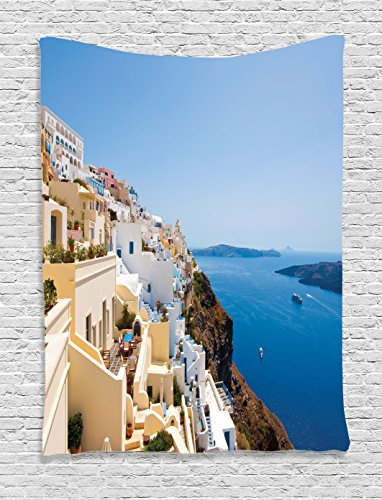 (Ambesonne European Cityscape Decor Collection, Cityscape on the Edge of Cliff Greece Island Land with Mediterranean Culture Decor, Bedroom Living Room Dorm Wall Hanging Tapestry, Multi)