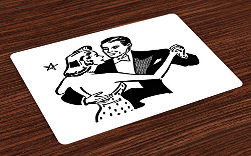 Tuxedo Dining Table Set - Lunarable Valentines Day Place Mats Set of 4, Dancing Couple in Vintage Tuxedo Gown Nostalgia Romance Ball Party 50s, Washable Fabric Placemats for Dining Room Kitchen Table Decor, Black and White