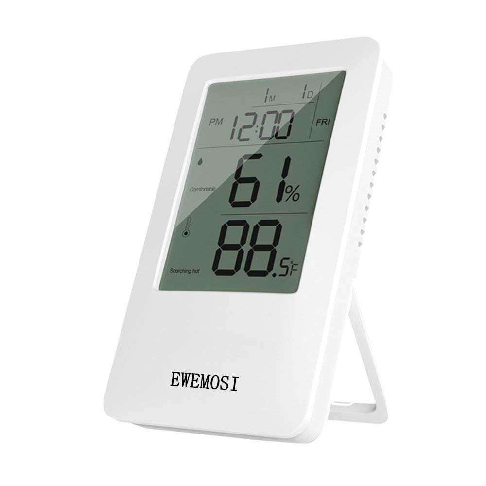 EWEMOSI Indoor Thermometer Temperature and Humidity Monitor Built-in Clock and Time Display for Baby Room Family Warehouse