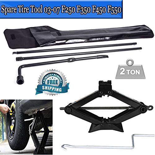 for Ford F250 F350 F450 F550 Spare Tire Lug Wrench Repair Tool Kit & 2 Ton Portable Car Scissor Jack Lift Wind Up for Emergency Speed Car Van Handle Jack Stands]()