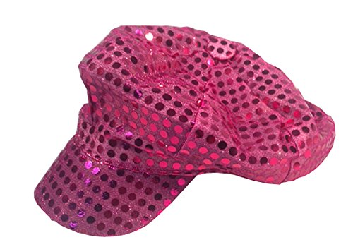 Hot Pink Fuschia Sparkly Sequin Newsboy Cap Diva Hat Disco Rave Girls Costume
