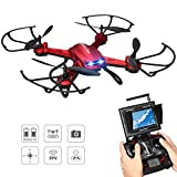 Drone with Camera, Potensic F181DH 5.8GHz RC Drone Quadcopter With 720P HD Live Camera RTF Altitude Hold UFO & Newest Stepless-speed Function, 5.8Ghz FPV LCD Screen Monitor (Red)