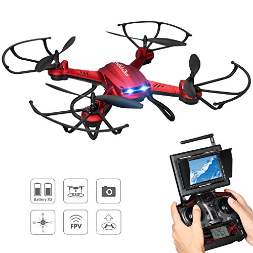 Drone with Camera, Potensic F181DH 5.8GHz RC Drone Quadcopter With 720P HD Live Camera RTF Altitude Hold UFO & Newest Stepless-speed Function, 5.8Ghz FPV LCD Screen Monitor (Red) by Potensic