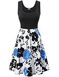 Women's Vintage Scoop Neck Midi Dress Sleeveless A-line...