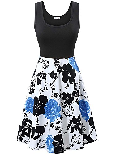 KIRA Floral Dress, Women's Sleeveless Scoop Neck Summer Party Cocktail Midi Dress