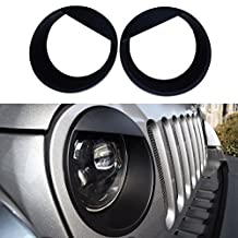 IParts Angry Eyes Black Bezels Front Light Headlight Trim Cover ABS For Jeep Wrangler Accessories Rubicon Sahara JK 2007 2008 2009 2010 2011 2012 2013 2014 2015 2016 2017