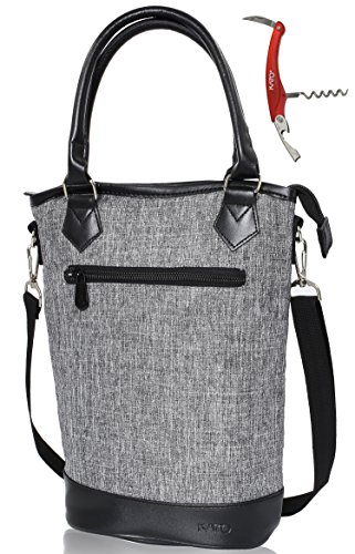 Kato Insulated Wine Tote Bag - Travel Padded 2 Bottle Wine/ Champagne Cooler Carrier with Handle and Shoulder Strap + Free Corkscrew, Great Wine Lover Gift, Grey