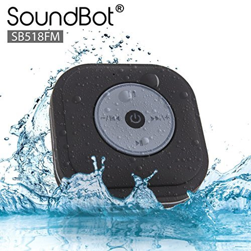 SoundBot® SB518FM FM RADIO Water Resistant Bluetooth Wireless Shower Speaker Hands-Free Portable Speakerphone w/ Smart One Touch Auto-Scan, 6Hrs Music Streaming, Built-in Mic, Detachable Suction ()