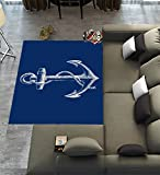Custom Blue Anchor Area Rugs Carpet,Nautical Navy Blue Anchor Modern Carpet Floor Rugs Mat for Home Living Dining Room Playroom Decoration Size 7'x5'
