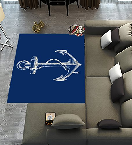 Custom Blue Anchor Area Rugs Carpet,Nautical Navy Blue Anchor Modern Carpet Floor Rugs Mat for Home Living Dining Room Playroom Decoration Size 7'x5' - Anchors Away Blue Rug