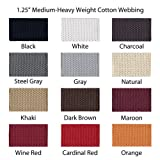 "1 Yard Cotton Webbing - 1 1/4"" Medium Heavy Weight - 33 Colors to Choose"