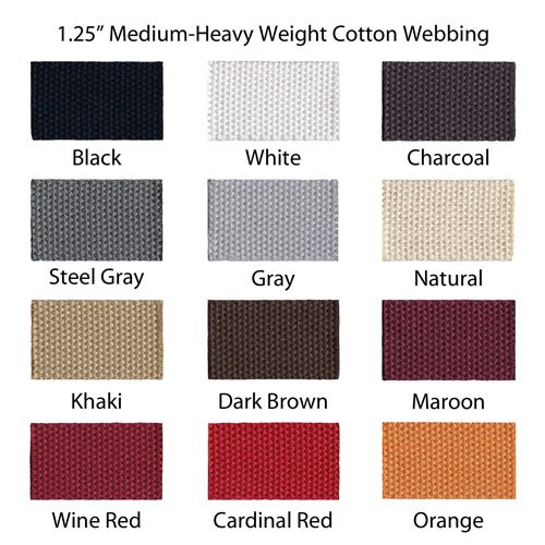 "1 Yard Cotton Webbing 1 1/4"" Medium Heavy Weight 33 Colors to Choose"
