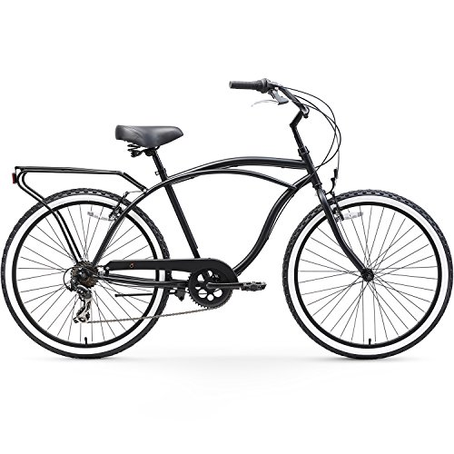 sixthreezero Around The Block Men's 7-Speed Cruiser Bicycle, Matte Black w/ Black Seat/Grips, 26 Wheels/19 Frame
