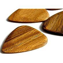 "Unique & Custom [Medium Gauge - Traditional Style Semi Tip] Hard Luxury Guitar Pick Made of Genuine Lignum Vitae Wood ""Brown Colored"" {Single Pick}"