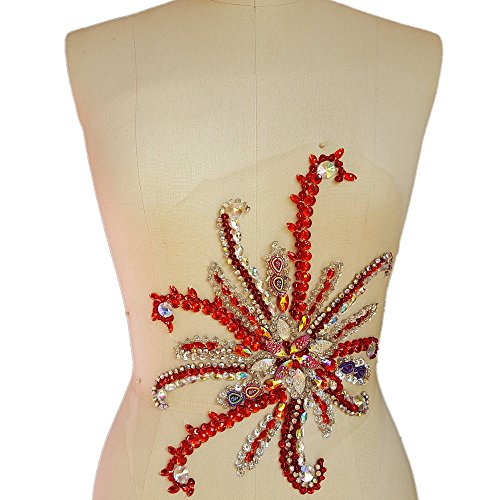 Sparkle Elegant Handcrafted Crystals AB Color Rhinestones Sew on Applique Bridal Belt Wedding Beaded Patch DIY for Women Gown Evening Prom Clothes Decoration (Red) by Bi.Dw.M