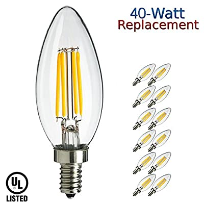 Luxrite LR21202 (12-Pack) 4W LED Filament Candelabra Bulb, 40W Incandescent Replacement, Warm White 2700K, 350 Lumens, 270° Beam Spread, E12 Candelabra Base, Torpedo Shape, UL-Listed