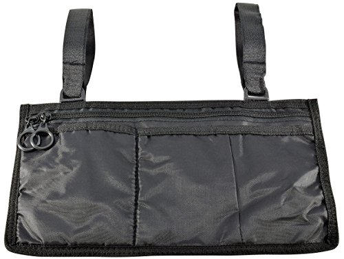 Secure 5 Pocket Wheelchair or Walker Mobility Pouch Storage Side Bag, Black (Side Walker Pouch)
