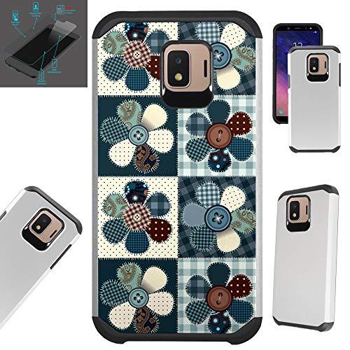 Compatible Samsung Galaxy J2 (2018) | J2 Core | J2 Pro | J2 Pure | J2 Shine | J2 Dash + Tempered Glass Case Hybrid TPU Fusion Phone Cover (Flower Patch)