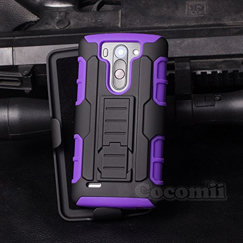 LG G Vista Case, Cocomii Robot Armor NEW [Heavy Duty] Premium Belt Clip Holster Kickstand Shockproof Hard Bumper Shell [Military Defender] Full Body Dual Layer Rugged Cover VS880 D631 (Purple)