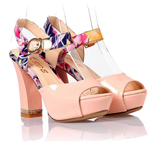 VogueZone009 Womens Open Peep Toe High Heel Platform Chunky Heels PU Patent Leather Printing Sandals, Pink, 3 UK