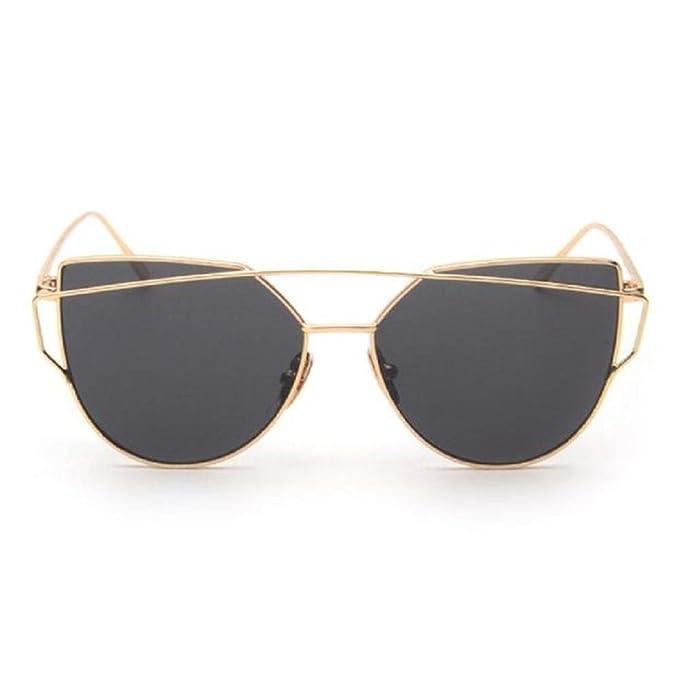 2018 Moda Gafas de sol,Nuevo Gafas de ojo de gato,Twin-Beams Clásico Gafas de sol de espejo con marco de metal,Gafas al aire libre para ...