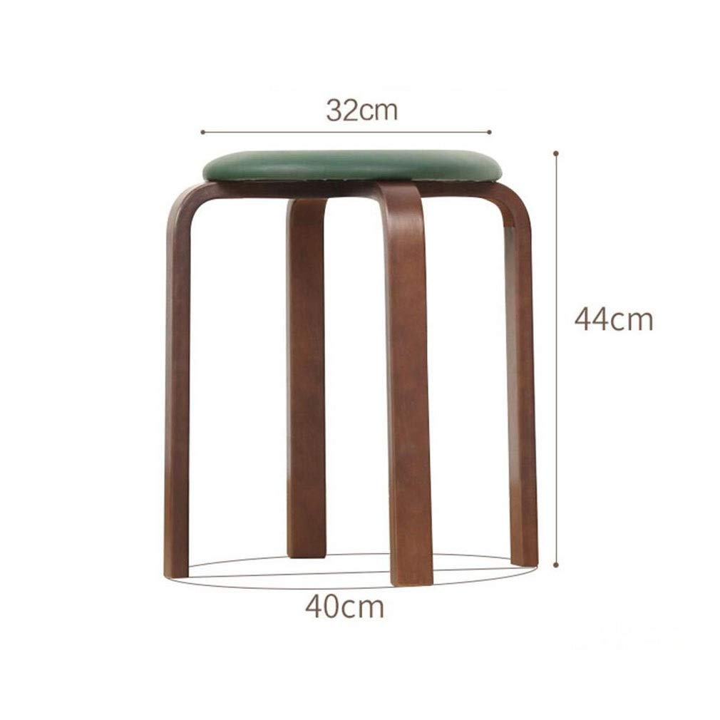 5 YCSD Fashion Small Dining Stool Solid Wood Round Stool Low Bench PU Upholstered,Easy Assembly (color   07)