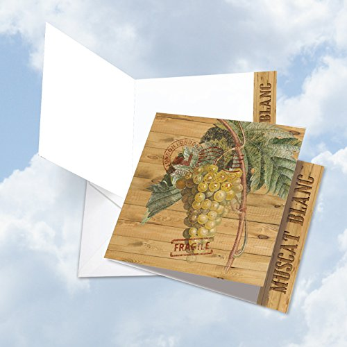JQ4603HTYG Jumbo Square-Top Thank You Greeting Card: Through the Grapevine Muscat Blanc, Featuring Images of Vintage Grapevines and Leaves; With Envelope (Large Size: 8.25