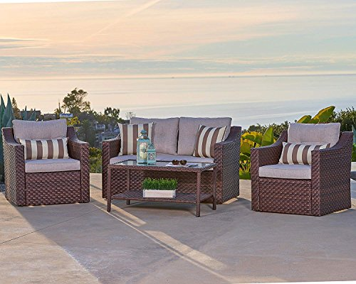 Solaura Outdoor Fully Woven 4-Piece Conversation Furniture Set All Weather Brown Wicker with Beige Waterproof Cushions & Sophisticated Glass Coffee Table | Patio, Backyard, ()