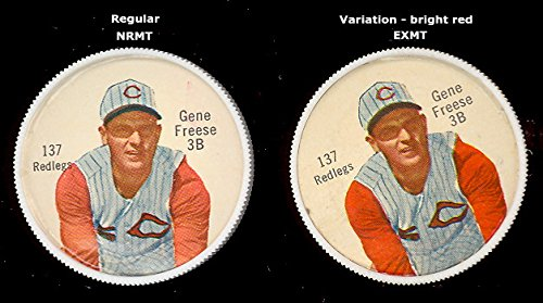 1962 salada tea coins (Baseball) Card# 137 Gene Freese - Redlegs off shoulder of the Cincinnati Reds NrMt Condition