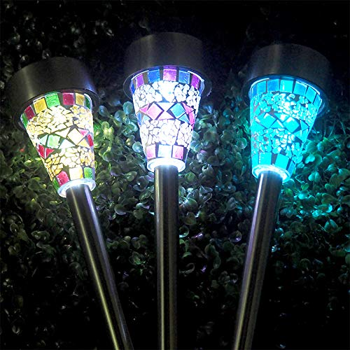 Cheap ART TO REAL 3 Color Solar LED Garden Lights Outdoor Stake Lights Solar Mosaic Pathway Lights Stainless Steel Landscape Lighting for Walkway Patio Yard Lawn Driveway Flowerbed Decoration