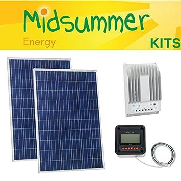 300 W (150 W + 150 W) verano Poly Solar PV Panel Kit - 12 V/24 V ...